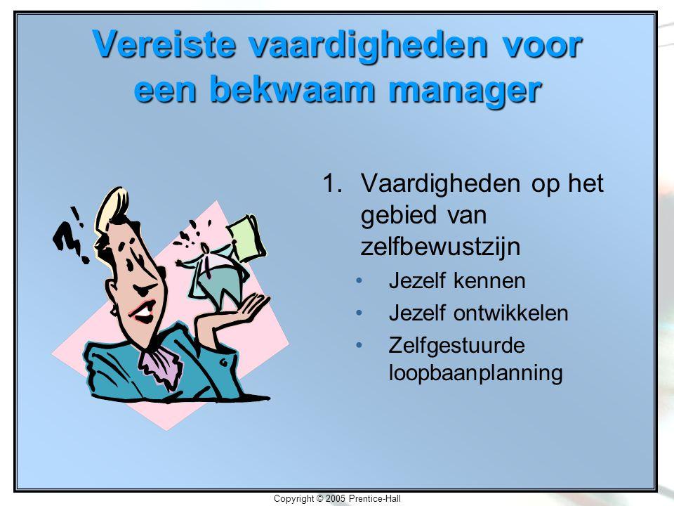 Copyright © 2005 Prentice-Hall Vereiste vaardigheden voor een bekwaam manager 1.Vaardigheden op het gebied van zelfbewustzijn Jezelf kennen Jezelf ontwikkelen Zelfgestuurde loopbaanplanning