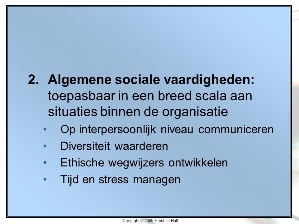 Copyright © 2005 Prentice-Hall 2.Algemene sociale vaardigheden: toepasbaar in een breed scala aan situaties binnen de organisatie Op interpersoonlijk niveau communiceren Diversiteit waarderen Ethische wegwijzers ontwikkelen Tijd en stress managen
