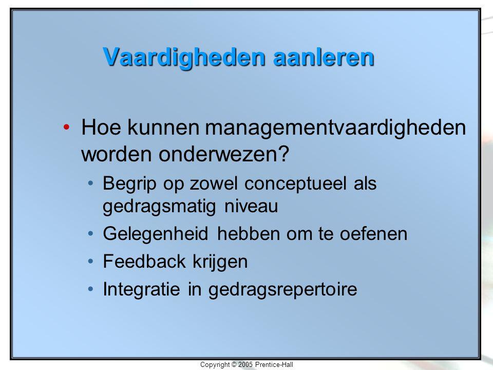 Copyright © 2005 Prentice-Hall Vaardigheden aanleren Hoe kunnen managementvaardigheden worden onderwezen.