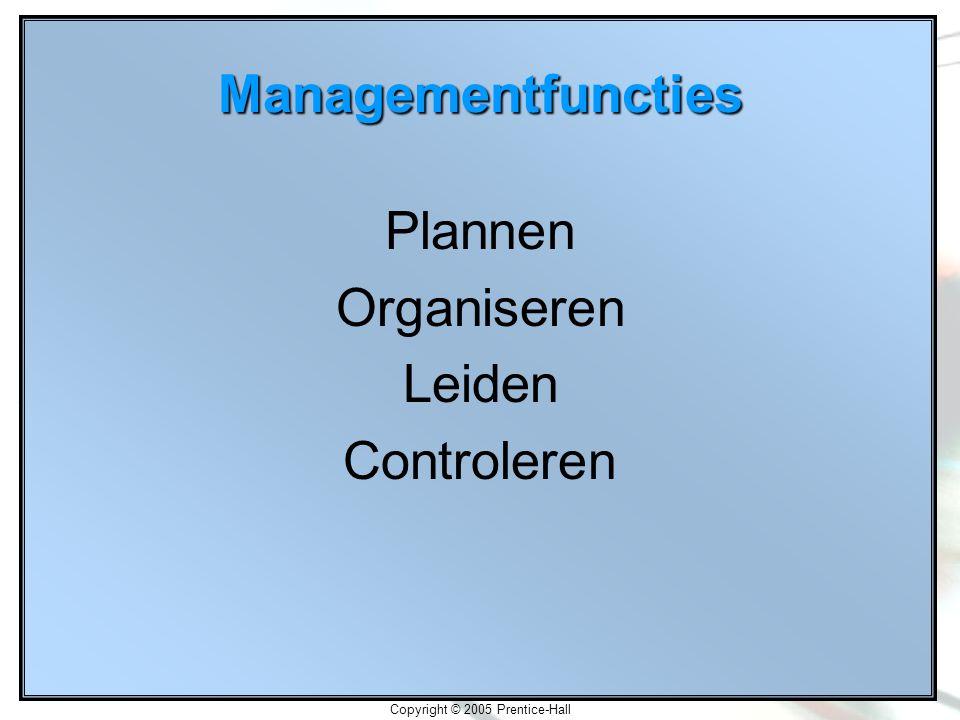 Copyright © 2005 Prentice-Hall Managementfuncties Plannen Organiseren Leiden Controleren