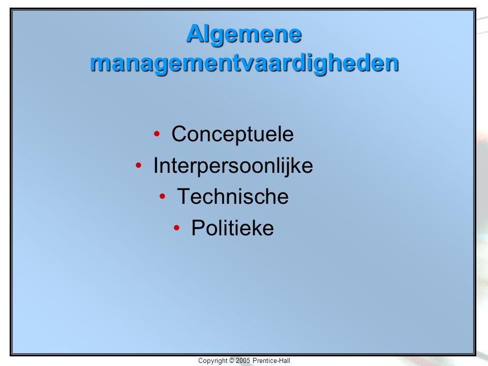 Copyright © 2005 Prentice-Hall Algemene managementvaardigheden Conceptuele Interpersoonlijke Technische Politieke