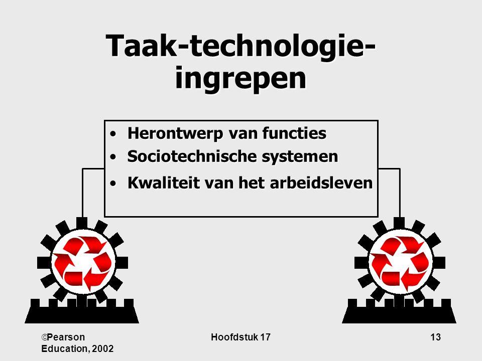  Pearson Education, 2002 Hoofdstuk 1713 Taak-technologie- ingrepen HerontwerpHerontwerp van functies SociotechnischeSociotechnische systemen KwaliteitKwaliteit van het arbeidsleven