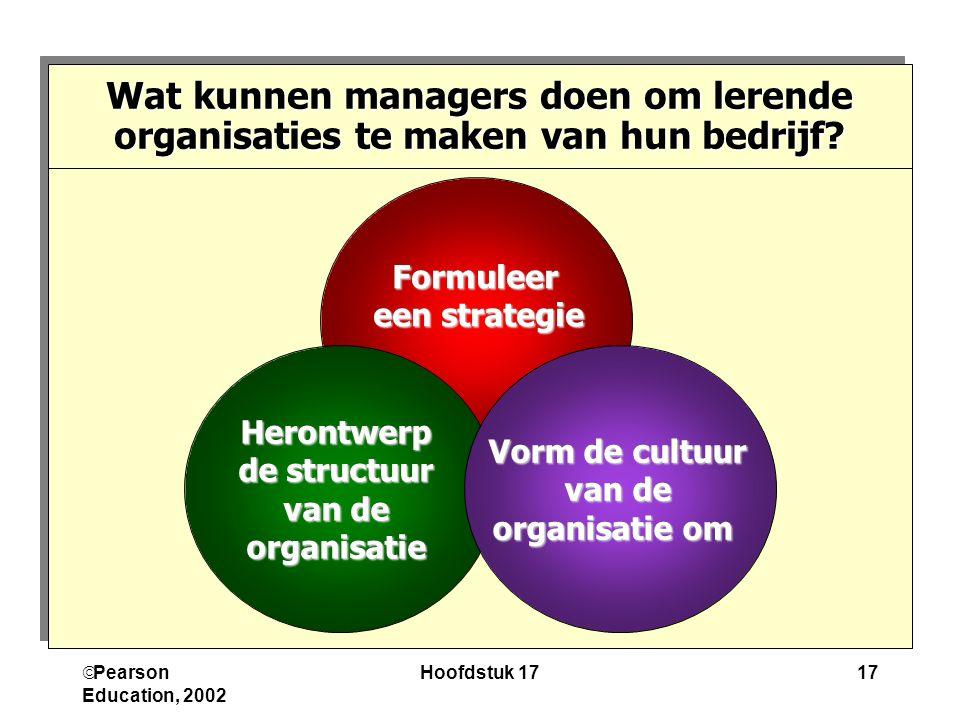 Pearson Education, 2002 Hoofdstuk 1717 Formuleer een strategie Herontwerp de structuur van de organisatie Vorm de cultuur van de van de organisatie om Wat kunnen managers doen om lerende organisaties te maken van hun bedrijf?