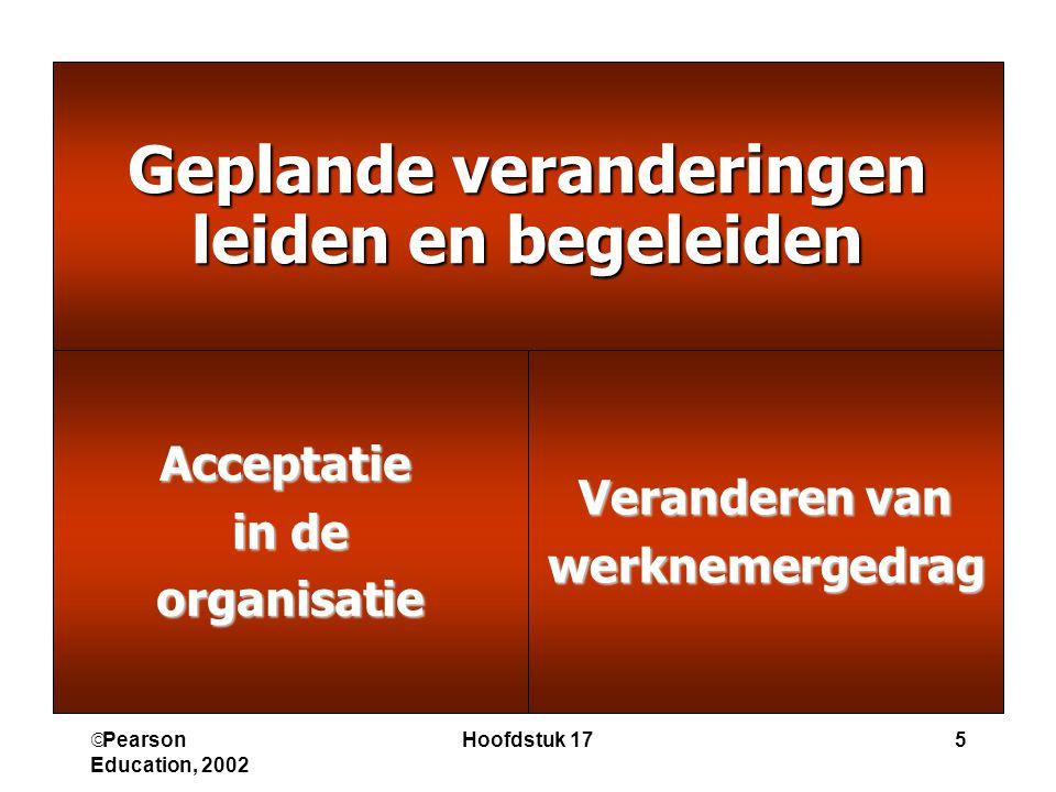  Pearson Education, 2002 Hoofdstuk 175 Geplande veranderingen leiden en begeleiden Veranderen van werknemergedragAcceptatie in de organisatie