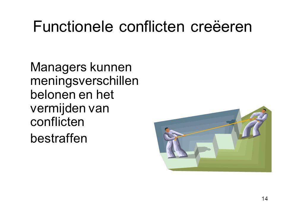 14 Functionele conflicten creëeren Managers kunnen meningsverschillen belonen en het vermijden van conflicten bestraffen