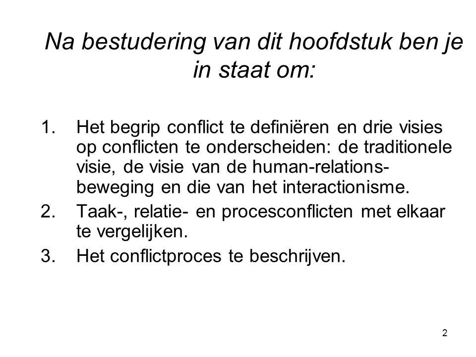 2 1.Het begrip conflict te definiëren en drie visies op conflicten te onderscheiden: de traditionele visie, de visie van de human-relations- beweging en die van het interactionisme.