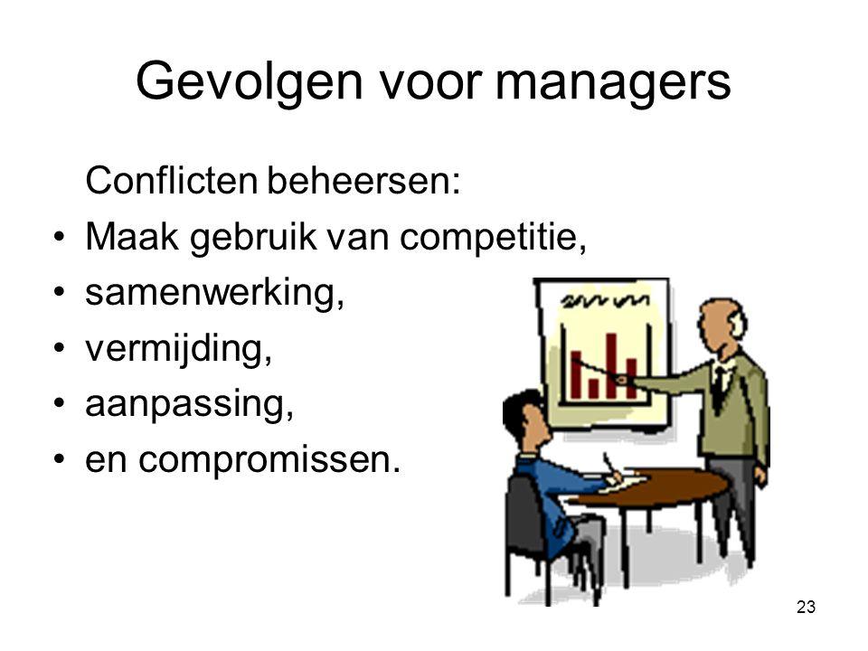 23 Gevolgen voor managers Conflicten beheersen: Maak gebruik van competitie, samenwerking, vermijding, aanpassing, en compromissen.