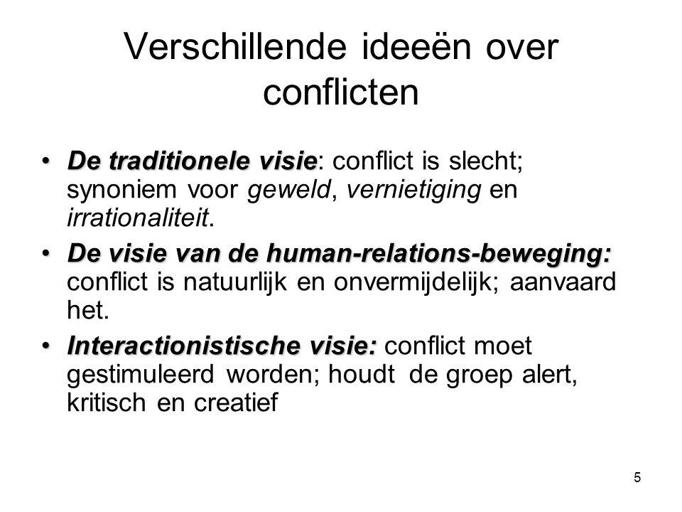 5 Verschillende ideeën over conflicten De traditionele visieDe traditionele visie: conflict is slecht; synoniem voor geweld, vernietiging en irrationaliteit.