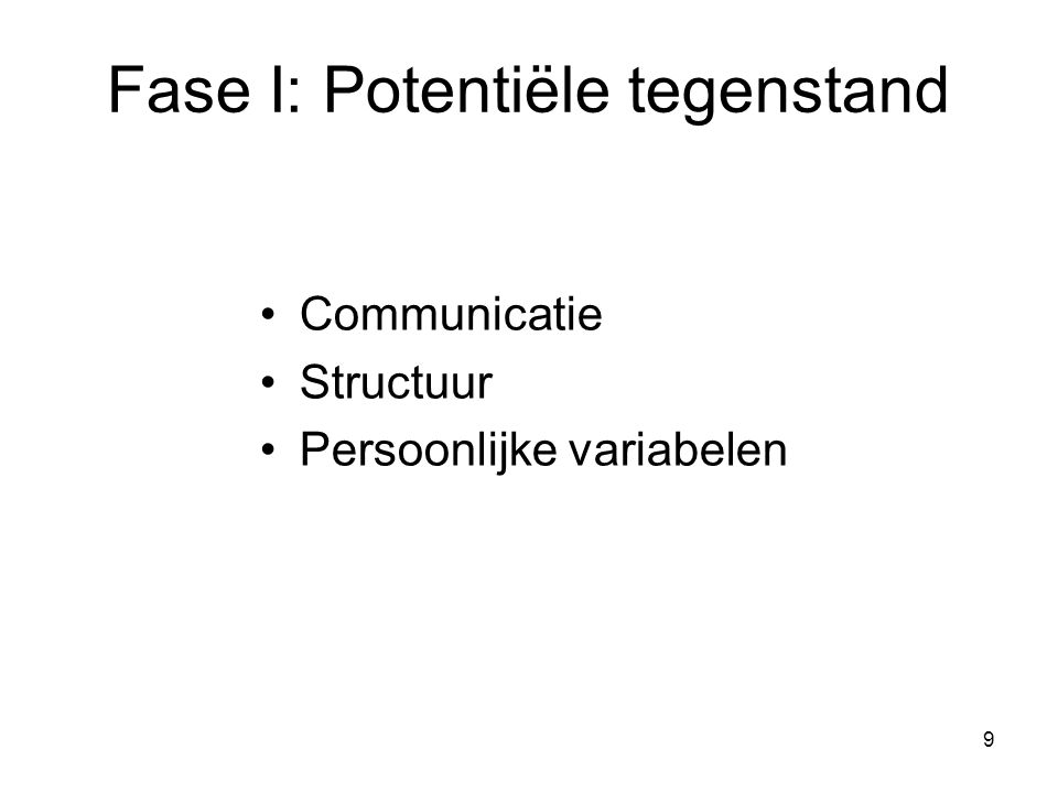 9 Fase I: Potentiële tegenstand Communicatie Structuur Persoonlijke variabelen