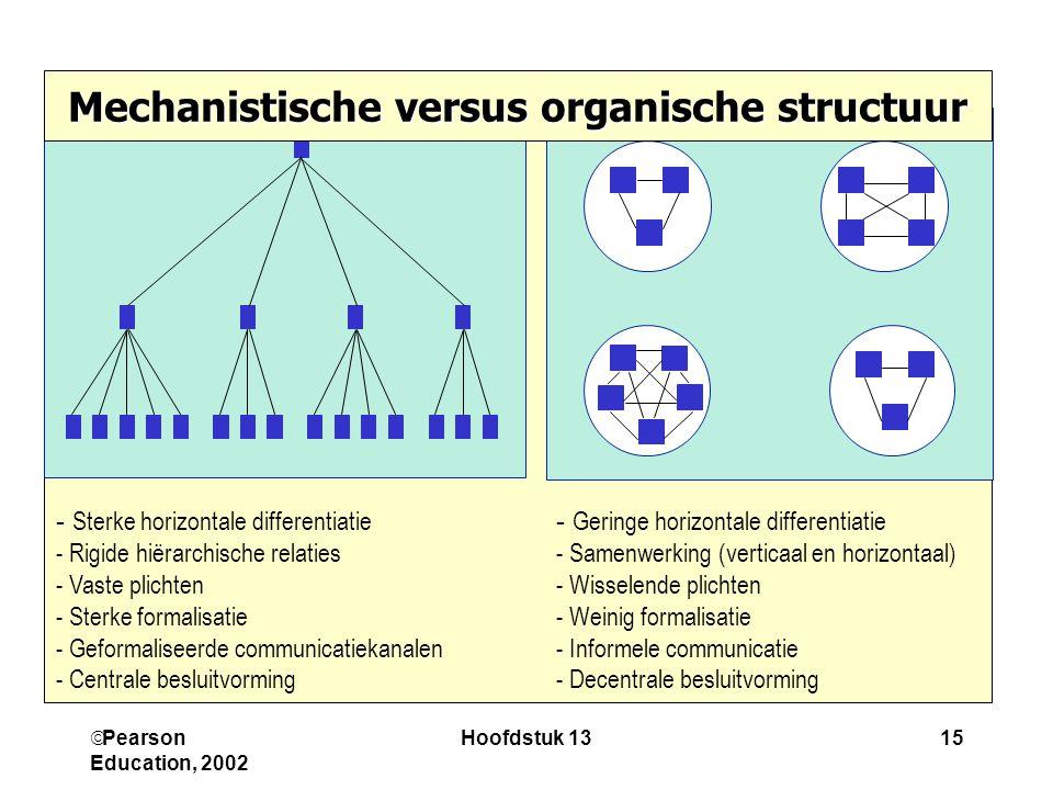  Pearson Education, 2002 Hoofdstuk 1315 - Sterke horizontale differentiatie - Rigide hiërarchische relaties - Vaste plichten - Sterke formalisatie -