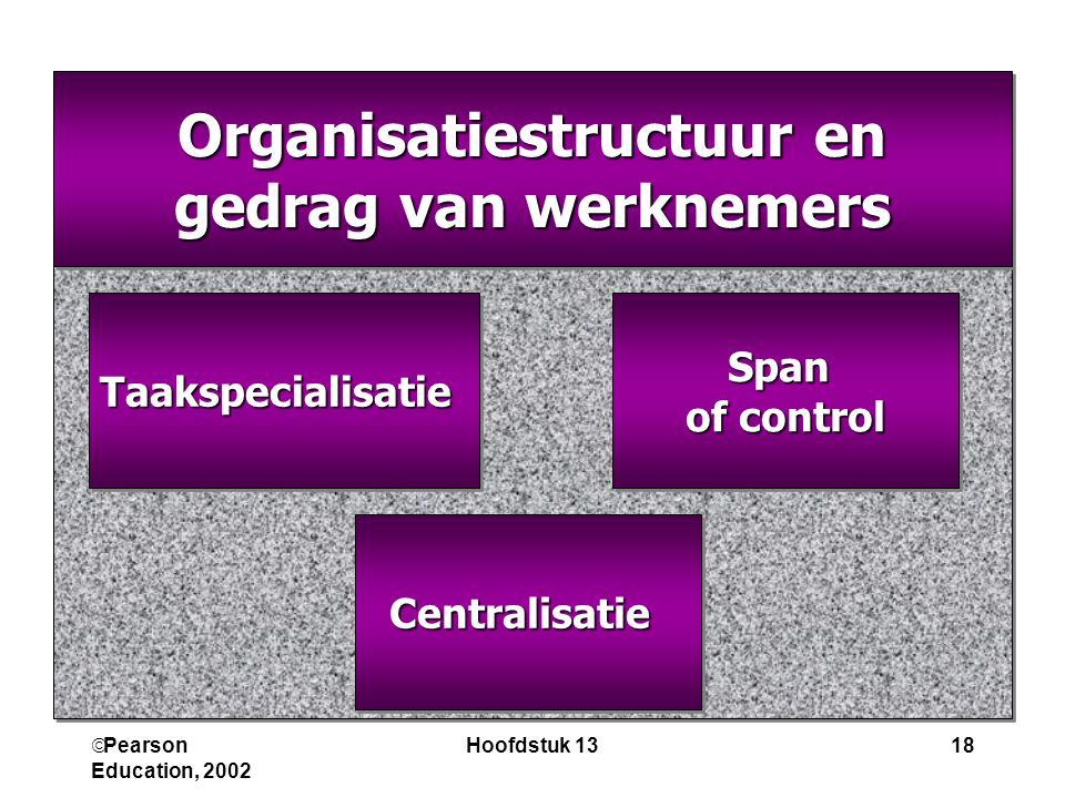  Pearson Education, 2002 Hoofdstuk 1318 Organisatiestructuur en gedrag van werknemers Organisatiestructuur en gedrag van werknemers Span of control S