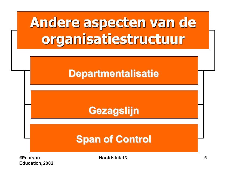  Pearson Education, 2002 Hoofdstuk 136 Andere aspecten van de organisatiestructuur DepartmentalisatieGezagslijn Span of Control