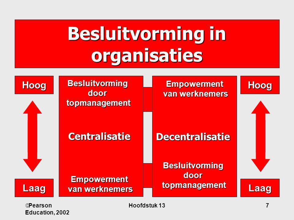  Pearson Education, 2002 Hoofdstuk 137 Besluitvorming in organisaties Centralisatie DecentralisatieHoogHoog LaagLaag Empowerment van werknemers Beslu