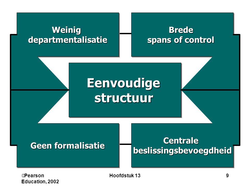  Pearson Education, 2002 Hoofdstuk 139 CentralebeslissingsbevoegdheidCentralebeslissingsbevoegdheid Brede spans of control Brede Geen formalisatie We