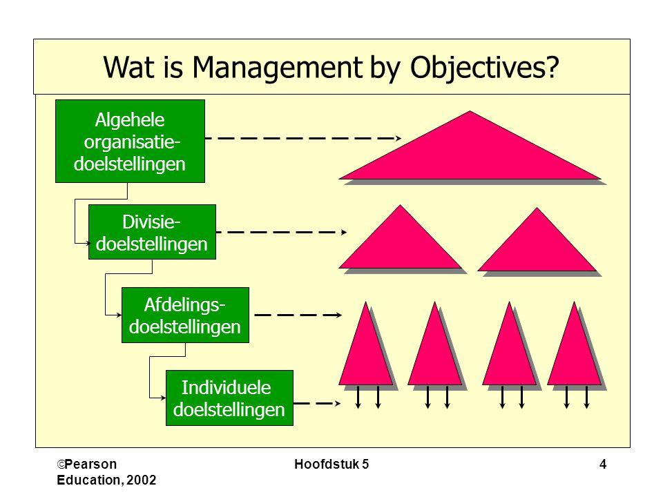  Pearson Education, 2002 Hoofdstuk 54 Algehele organisatie- doelstellingen Divisie- doelstellingen Afdelings- doelstellingen Individuele doelstellingen Wat is Management by Objectives?