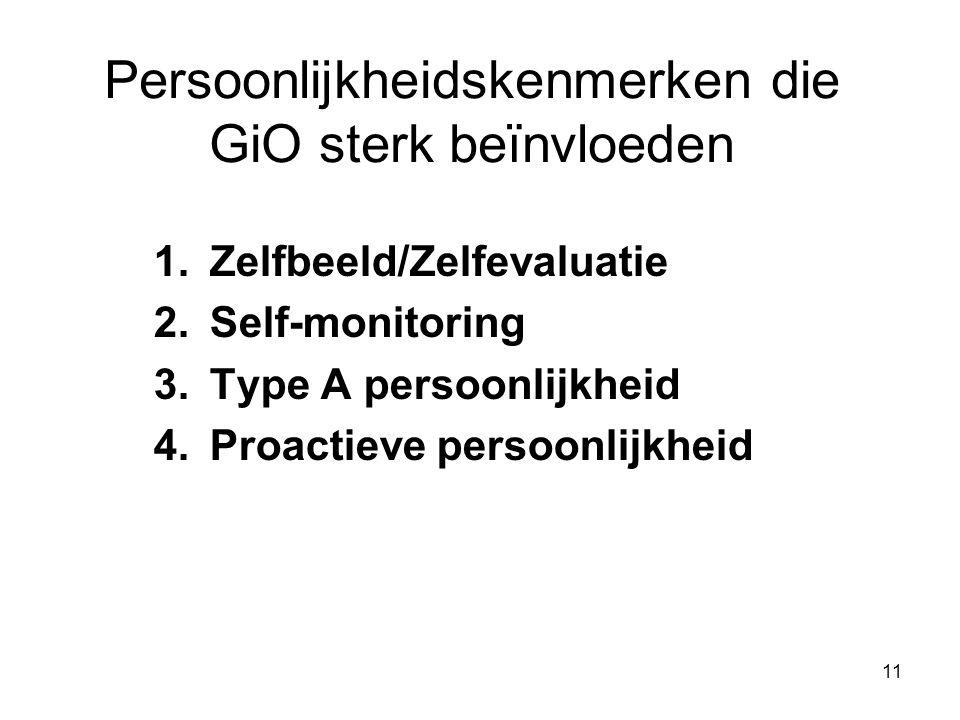11 Persoonlijkheidskenmerken die GiO sterk beїnvloeden 1.Zelfbeeld/Zelfevaluatie 2.Self-monitoring 3.Type A persoonlijkheid 4.Proactieve persoonlijkheid
