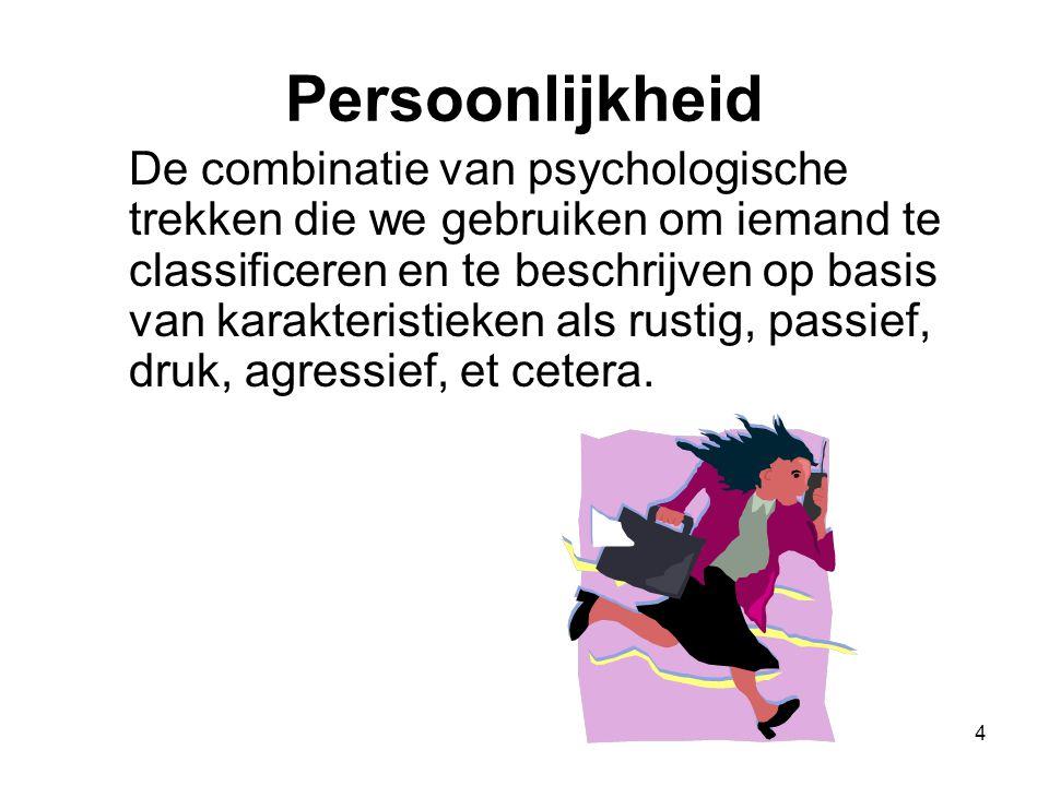 4 Persoonlijkheid De combinatie van psychologische trekken die we gebruiken om iemand te classificeren en te beschrijven op basis van karakteristieken als rustig, passief, druk, agressief, et cetera.