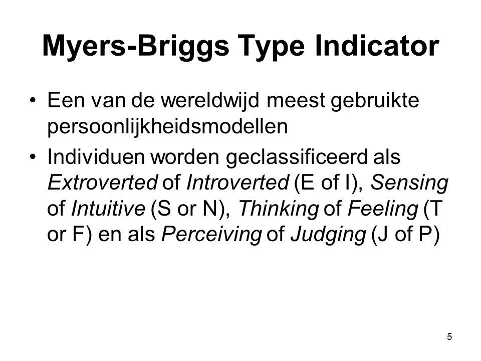 5 Myers-Briggs Type Indicator Een van de wereldwijd meest gebruikte persoonlijkheidsmodellen Individuen worden geclassificeerd als Extroverted of Introverted (E of I), Sensing of Intuitive (S or N), Thinking of Feeling (T or F) en als Perceiving of Judging (J of P)