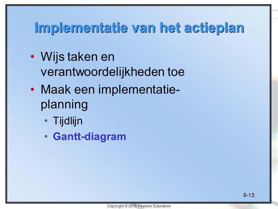 9-13 Copyright © 2010 Pearson Education Implementatie van het actieplan Wijs taken en verantwoordelijkheden toe Maak een implementatie- planning Tijdl