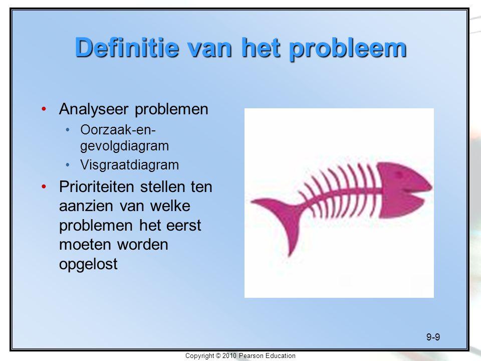 9-9 Copyright © 2010 Pearson Education Definitie van het probleem Analyseer problemen Oorzaak-en- gevolgdiagram Visgraatdiagram Prioriteiten stellen t