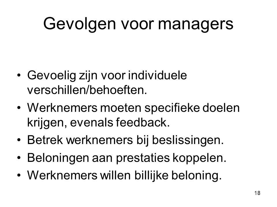 18 Gevolgen voor managers Gevoelig zijn voor individuele verschillen/behoeften. Werknemers moeten specifieke doelen krijgen, evenals feedback. Betrek