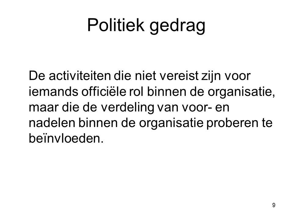 9 Politiek gedrag De activiteiten die niet vereist zijn voor iemands officiële rol binnen de organisatie, maar die de verdeling van voor- en nadelen b