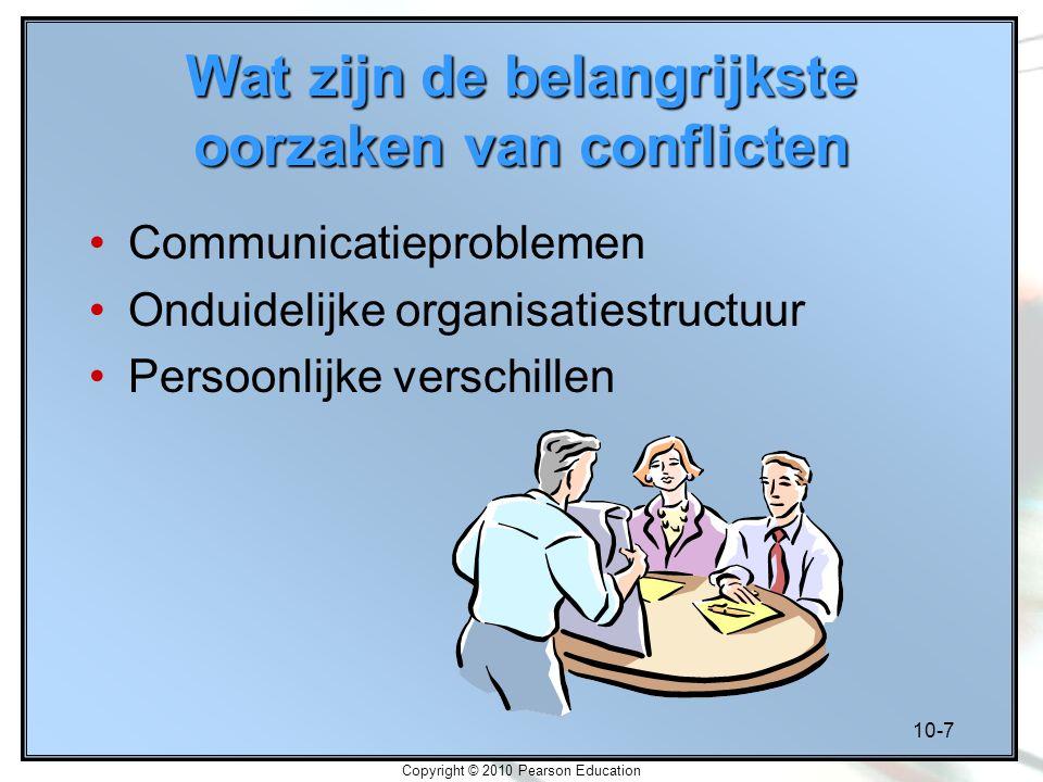 10-7 Copyright © 2010 Pearson Education Wat zijn de belangrijkste oorzaken van conflicten Communicatieproblemen Onduidelijke organisatiestructuur Pers