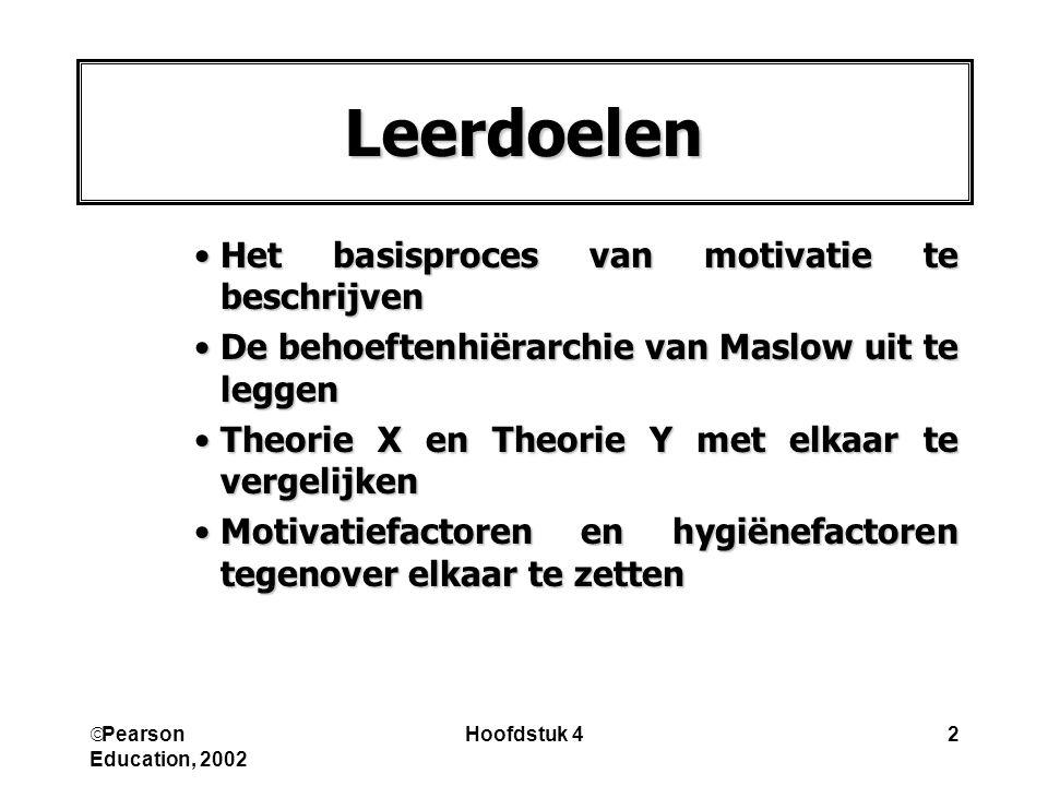  Pearson Education, 2002 Hoofdstuk 42 Leerdoelen Het basisproces van motivatie te beschrijvenHet basisproces van motivatie te beschrijven De behoefte