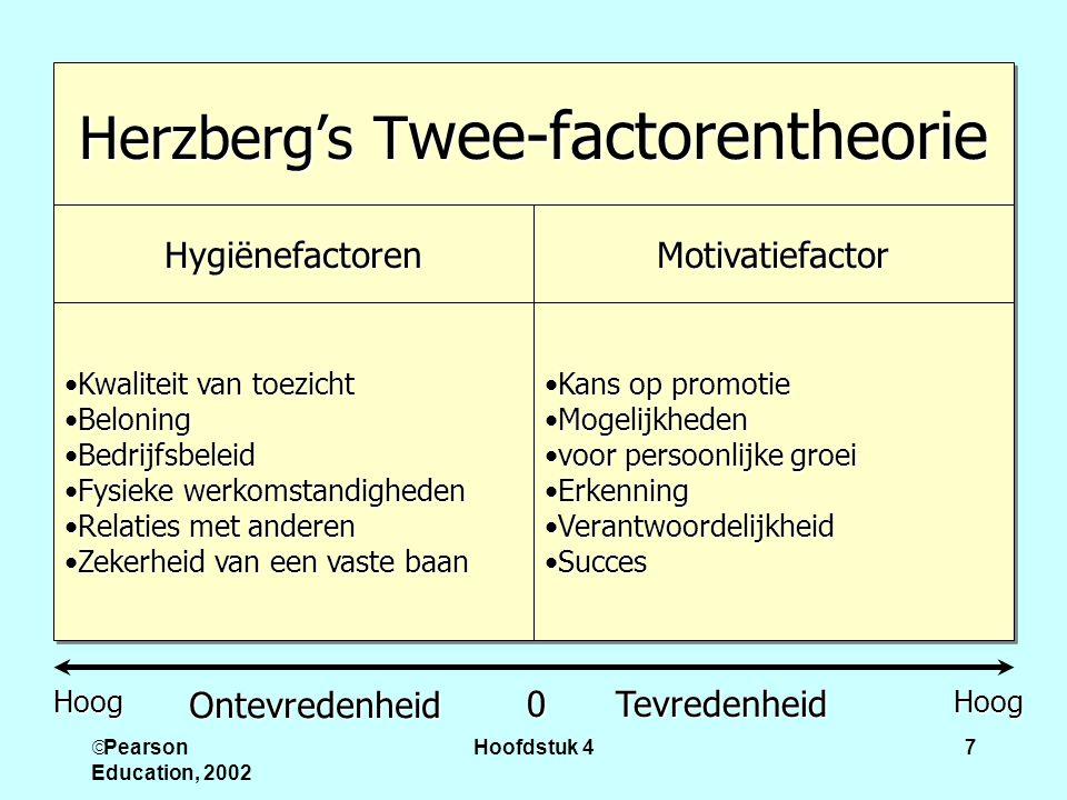  Pearson Education, 2002 Hoofdstuk 47 Herzberg's T wee-factorentheorie HygiënefactorenHygiënefactorenMotivatiefactorMotivatiefactor Kwaliteit van toe