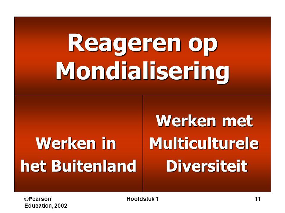 ©Pearson Education, 2002 Hoofdstuk 111 Reageren op Mondialisering Werken in het Buitenland Werken met MulticultureleDiversiteit