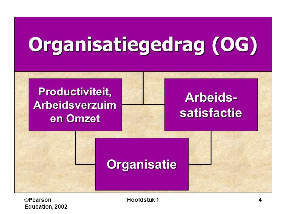 ©Pearson Education, 2002 Hoofdstuk 14 Organisatiegedrag (OG) Arbeids-satisfactieProductiviteit, Arbeidsverzuim Arbeidsverzuim en Omzet Organisatie