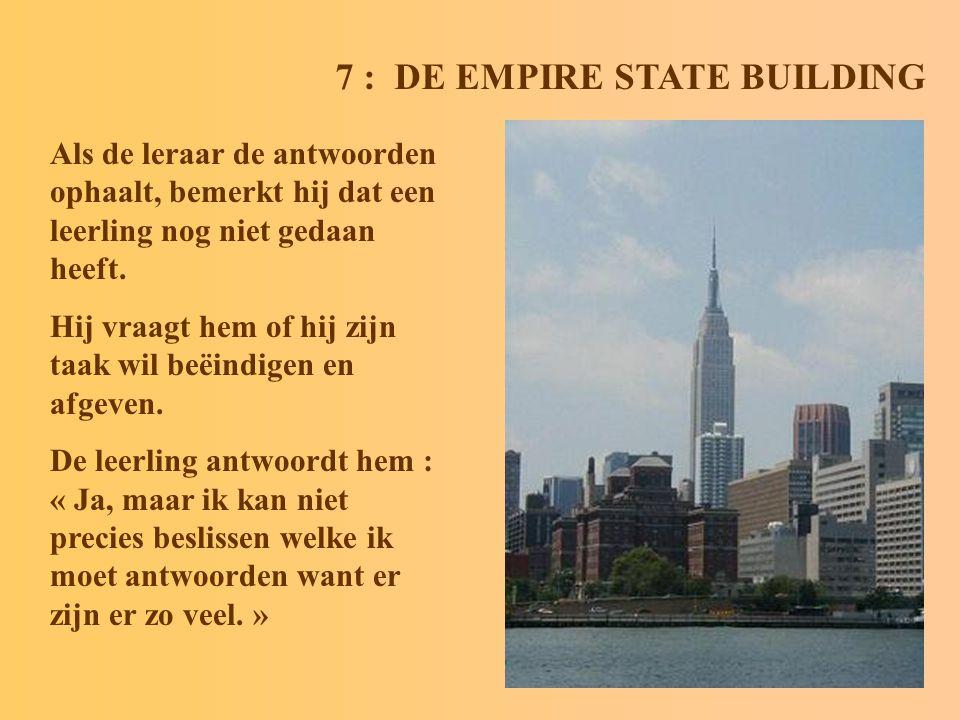 7 : DE EMPIRE STATE BUILDING Als de leraar de antwoorden ophaalt, bemerkt hij dat een leerling nog niet gedaan heeft.