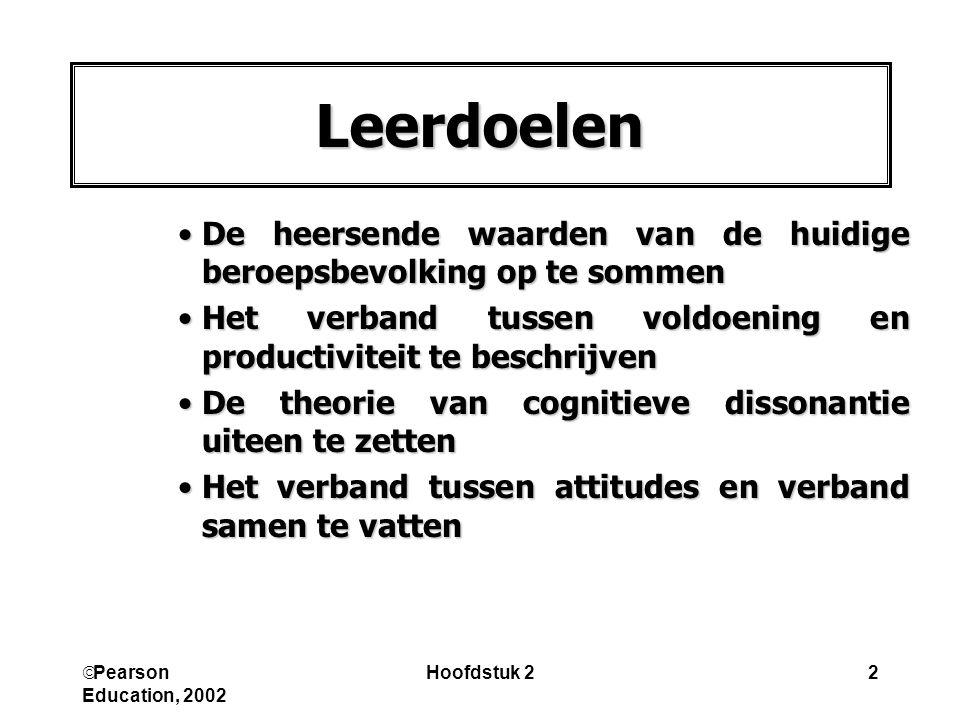  Pearson Education, 2002 Hoofdstuk 22 Leerdoelen De heersende waarden van de huidige beroepsbevolking op te sommenDe heersende waarden van de huidige