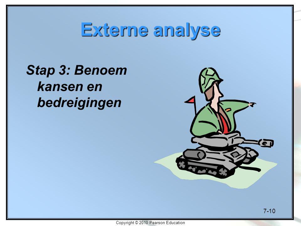 7-10 Copyright © 2010 Pearson Education Externe analyse Stap 3: Benoem kansen en bedreigingen