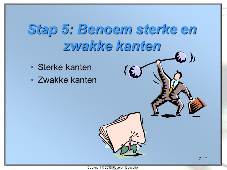 7-12 Copyright © 2010 Pearson Education Stap 5: Benoem sterke en zwakke kanten Sterke kanten Zwakke kanten
