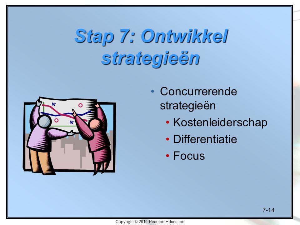 7-14 Copyright © 2010 Pearson Education Stap 7: Ontwikkel strategieën Concurrerende strategieën Kostenleiderschap Differentiatie Focus