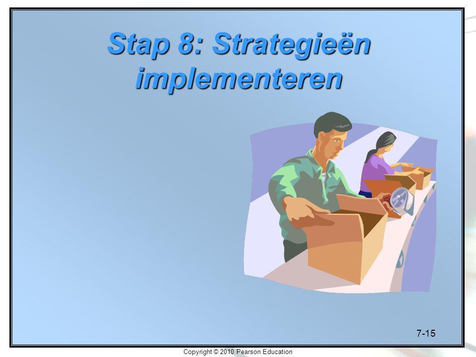 7-15 Copyright © 2010 Pearson Education Stap 8: Strategieën implementeren