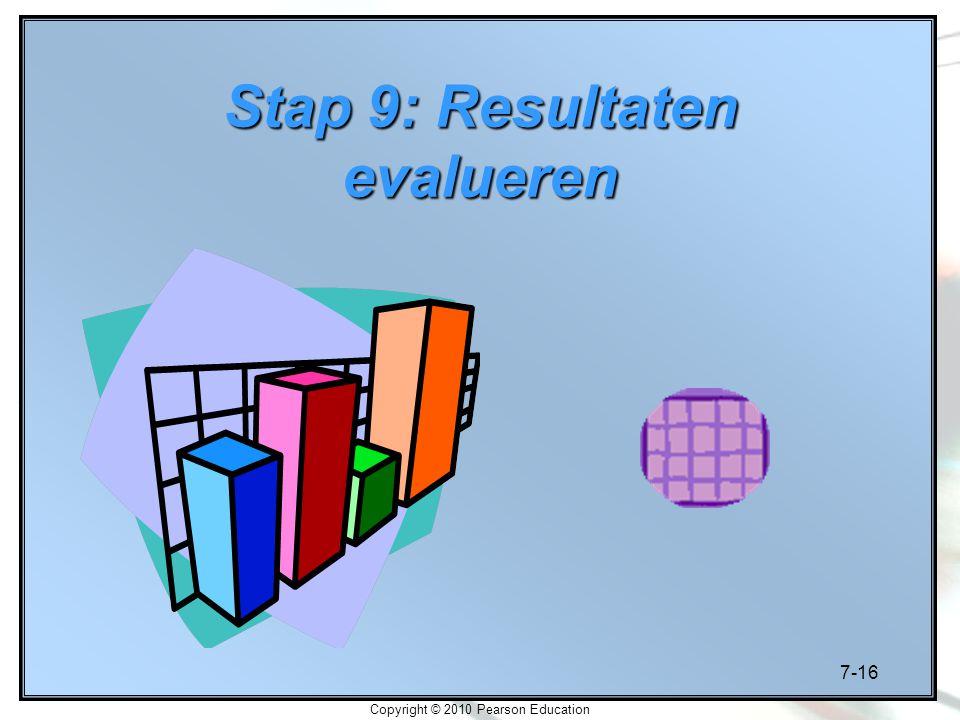 7-16 Copyright © 2010 Pearson Education Stap 9: Resultaten evalueren