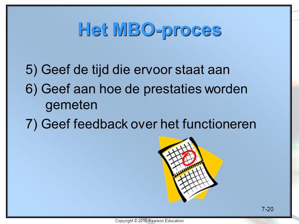 7-20 Copyright © 2010 Pearson Education Het MBO-proces 5) Geef de tijd die ervoor staat aan 6) Geef aan hoe de prestaties worden gemeten 7) Geef feedb