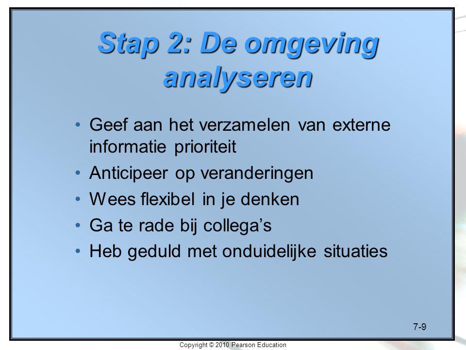 7-9 Copyright © 2010 Pearson Education Stap 2: De omgeving analyseren Geef aan het verzamelen van externe informatie prioriteit Anticipeer op verander
