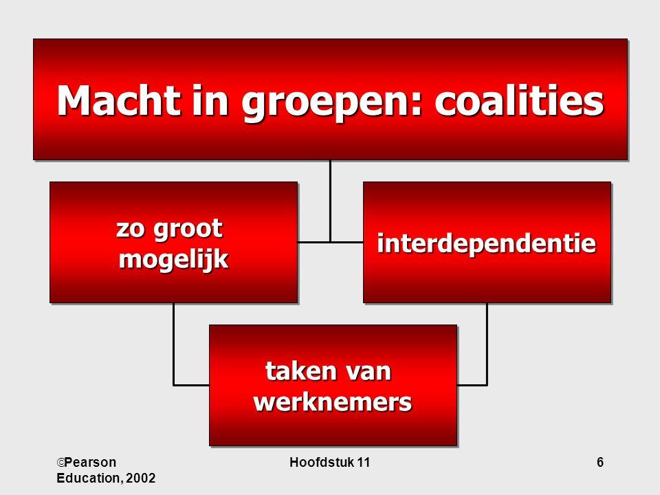  Pearson Education, 2002 Hoofdstuk 116 Macht in groepen: coalities interdependentie zo groot mogelijk taken van werknemers