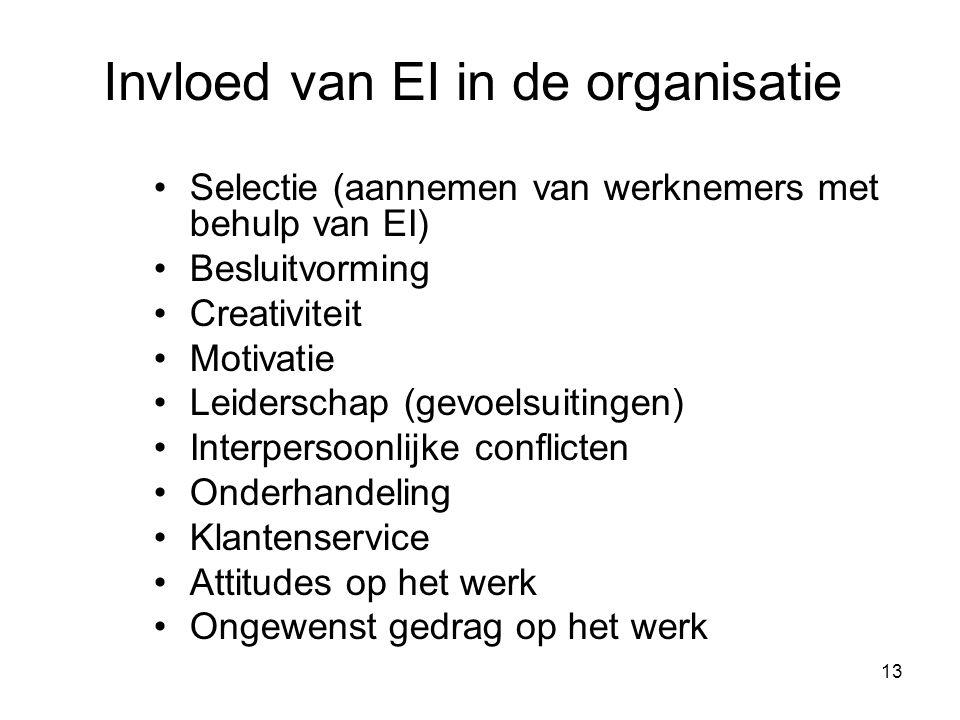 13 Invloed van EI in de organisatie Selectie (aannemen van werknemers met behulp van EI) Besluitvorming Creativiteit Motivatie Leiderschap (gevoelsuit