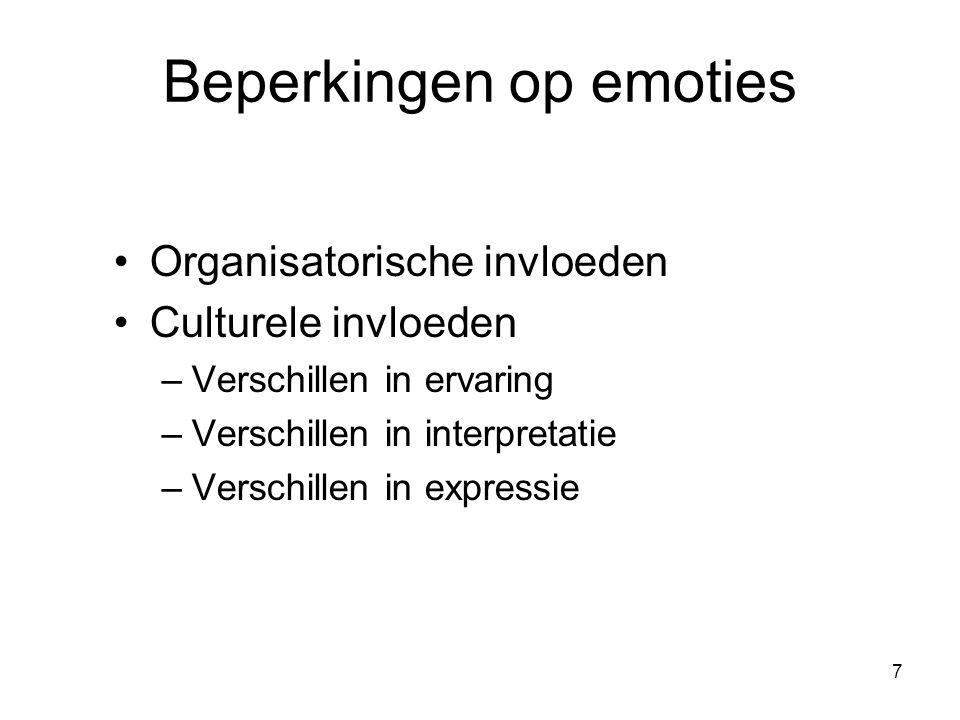 7 Beperkingen op emoties Organisatorische invloeden Culturele invloeden –Verschillen in ervaring –Verschillen in interpretatie –Verschillen in express