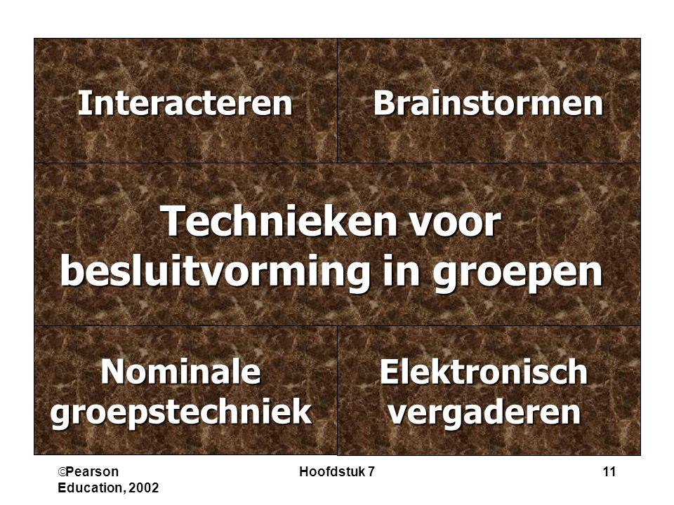  Pearson Education, 2002 Hoofdstuk 711 ElektronischvergaderenNominalegroepstechniek BrainstormenInteracteren Technieken voor besluitvorming in groepen
