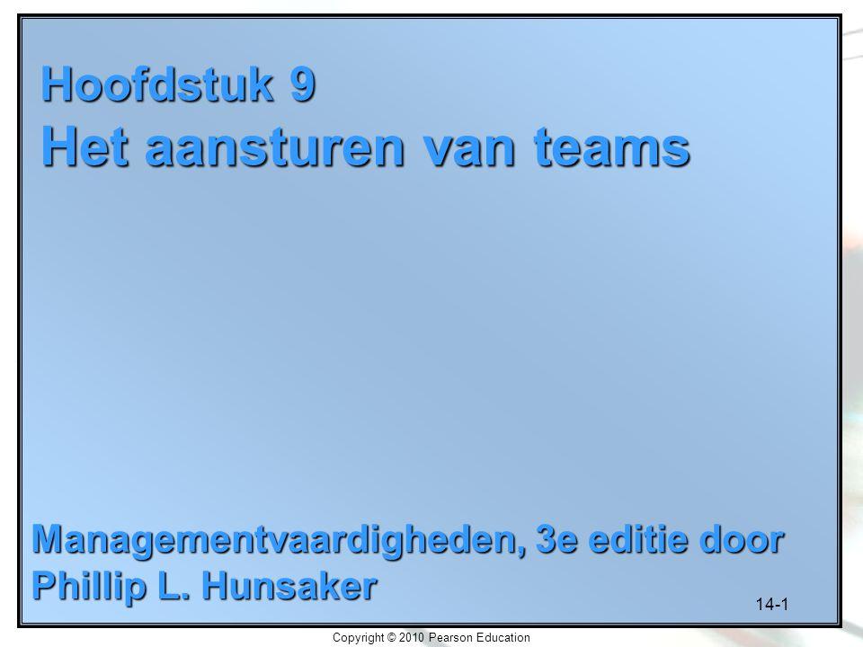 14-1 Copyright © 2010 Pearson Education Hoofdstuk 9 Het aansturen van teams Managementvaardigheden, 3e editie door Phillip L. Hunsaker