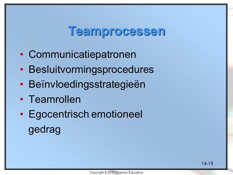 14-15 Copyright © 2010 Pearson Education Teamprocessen Communicatiepatronen Besluitvormingsprocedures Beïnvloedingsstrategieën Teamrollen Egocentrisch