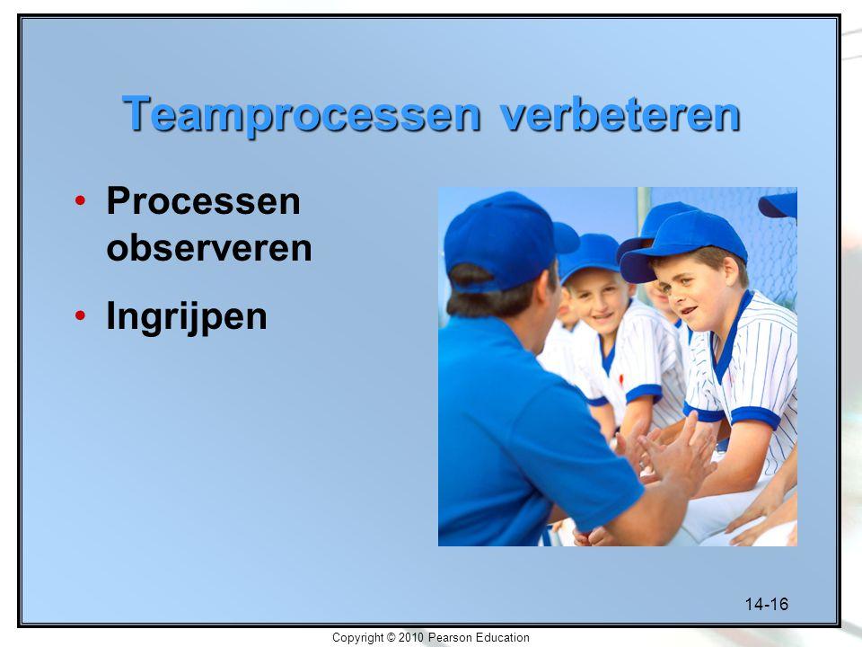 14-16 Copyright © 2010 Pearson Education Teamprocessen verbeteren Processen observeren Ingrijpen