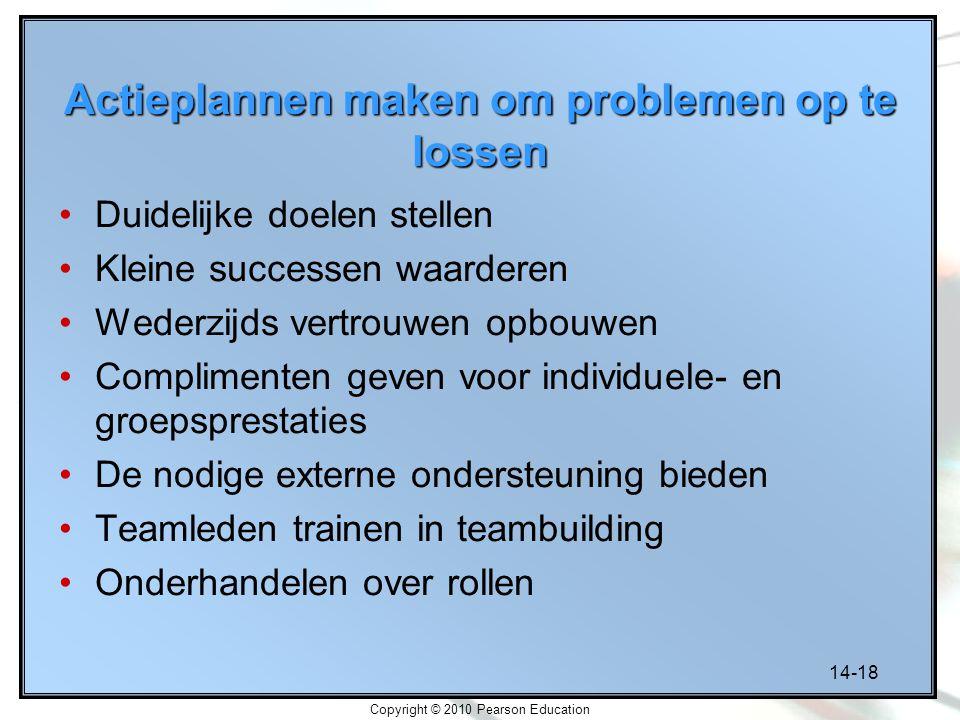 14-18 Copyright © 2010 Pearson Education Actieplannen maken om problemen op te lossen Duidelijke doelen stellen Kleine successen waarderen Wederzijds