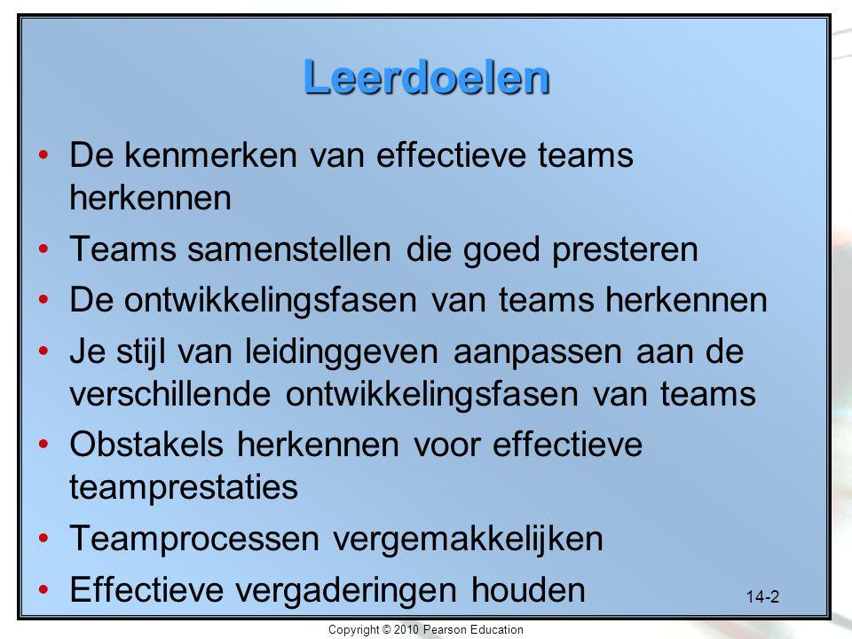 14-2 Copyright © 2010 Pearson Education Leerdoelen De kenmerken van effectieve teams herkennen Teams samenstellen die goed presteren De ontwikkelingsf
