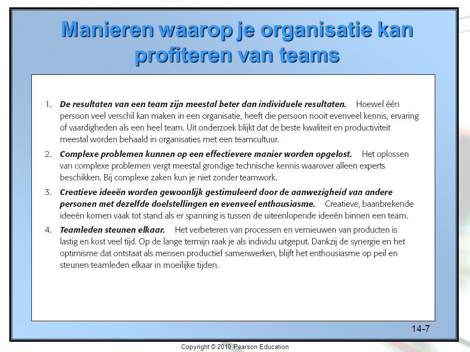 14-7 Copyright © 2010 Pearson Education Manieren waarop je organisatie kan profiteren van teams
